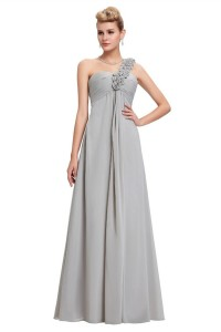 Elegant One Shoulder Empire Waist Long Silver Chiffon Bridesmaid Dress