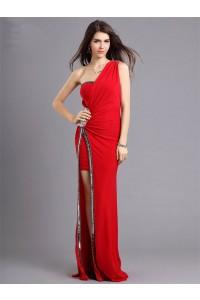 Elegant One Shoulder High Slit Long Red Jersey Beaded Prom Dress