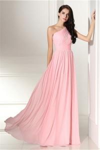 Elegant One Shoulder Long Pink Chiffon Wedding Guest Bridesmaid Dress