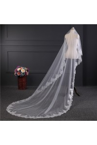 Elegant One tier Tulle Lace Wedding Bridal Cathedral Veil With Comb