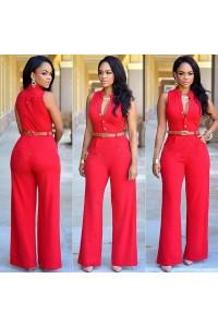 Elegant Sleeveless Wide Legged Rompers Womens Jumpsuit With Belt