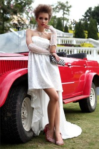 Elegant Strapless High Low White Tulle Sequined Party Prom Dress With Sash