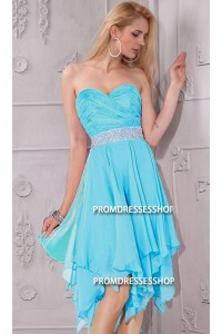 Elegant Strapless Short Light Sky Blue Chiffon Ruffle Beaded Party Prom Dress
