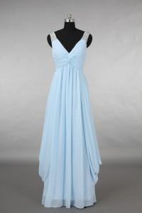 Elegant V Neck Empire Waist Long Light Blue Chiffon Draped Bridesmaid Evening Dress