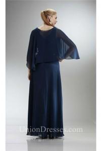Elegant V Neck Long Navy Blue Chiffon Mother Evening Dress With Shawl