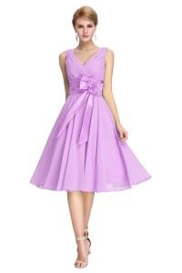 Elegant V Neck Sleeveless Short Lilac Chiffon Bridesmaid Prom Dress With Bow