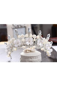 Fabulous Alloy Crystal Floral Wedding Bridal Tiara Crown With Pearls