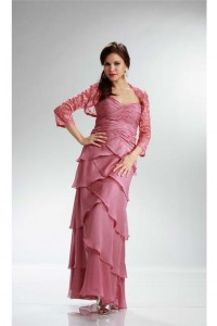 Fabulous Sweetheart Rose Chiffon Ruffle Tiered Mother Evening Dress Lace Jacket