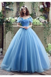 Fairy Ball Gown Off The Shoulder Blue Organza Wedding Prom Dress Corset Back