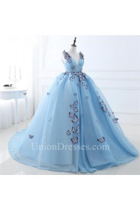 Fairy Ball Gown V Neck Light Sky Blue Butterfly Quinceanera Prom Dress