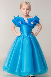 Fairy Tale Ball Gown Off The Shoulder Blue Organa Little Girl Pageant Dress