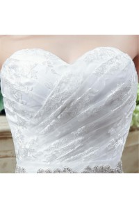 Lace Wedding Dress With Crystals Sash