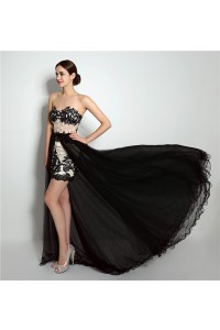 Fantastic High Low Corset Back Black Tulle Lace Prom Dress Detachable Skirt