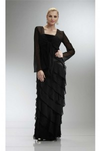 Fantastic Sheath Long Black Chiffon Ruffle Tiered Evening Dress With Jacket