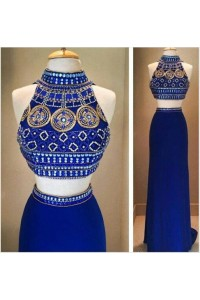 Fantastic Two Piece High Neck Long Royal Blue Jersey Beaded Prom Dress
