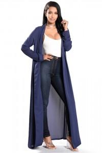 Fashion Beach Long Sleeve Navy Blue Chiffon Women Kimono Jacket