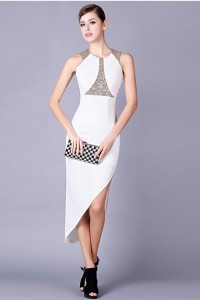 Fashion Scoop Neck High Low White Satin Beaded Special Occsaion Evening Dress