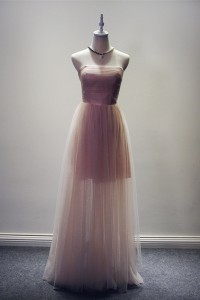 Fashion Strapless High Low Hem Blush Pink Tulle Prom Dress