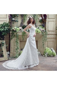 Fitted Sweetheart Lace Straps Wedding Dress With Train