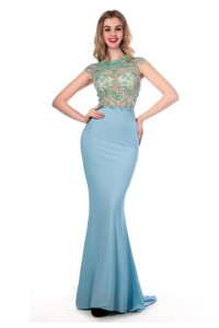 Fitted High Neck Cap Sleeve Sheer Back Baby Blue Jersey Tulle Beaded Prom Dress