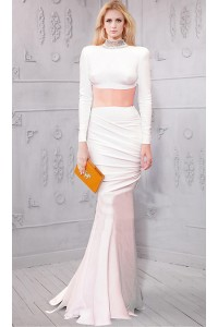 Fitted High Neck Collar Open Back Long Sleeve Two Piece White Jersey Evening Dress