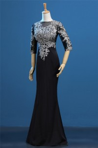 Fitted Illusion Neckline Black Satin Silver Lace Beaded Evening Dress With Sleeves