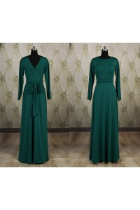 Fitted Scoop Neck Long Sleeve Dark Green Jersey Evening Dress With Sash
