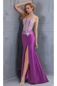 fitted strapless high slit purple satin beaded corset back