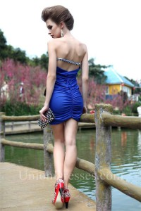 Fitted Strapless Mini Royal Blue Jersey Beaded Cocktail Party Club Dress