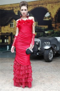 Fitted Strapless Red Feather Jersey Sequined Tulle Ruffle Evening Prom Dress
