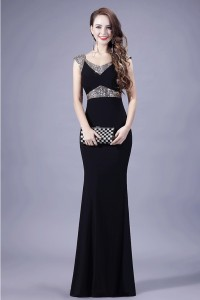 Fitted V Neck Cap Sleeve Black Chiffon Beaded Special Occasion Evening Dress