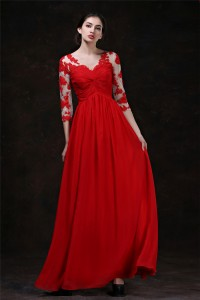 Flowing A Line V Neck Empire Waist Long Red Chiffon Evening Prom Dress With Lace Sleeves