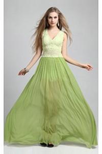 Flowing A Line V Neck Long Sage Chiffon Lace Prom Dress