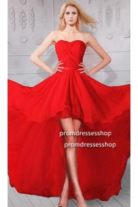 Flowing Strapless High Low Red Chiffon Party Prom Dress
