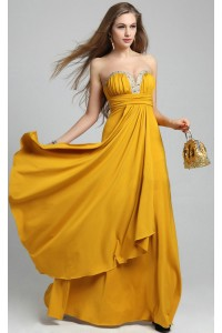 Flowing Sweetheart Long Gold Chiffon Beaded Prom Dress With Draping