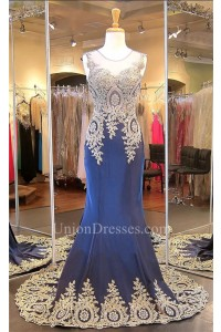 Formal Mermaid Illusion Neckline Navy Silk Gold Lace Applique Evening Dress