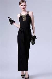 Formal Round Neck Black Jersey Beaded Evening Jumpsuit With Sash