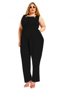 Front Cut Out V Back Sleeveless Plus Size Black Jumpsuit For Women