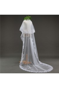 Glitter Two tier White Tulle Lace Sequined Wedding Bridal Cathedral Veil