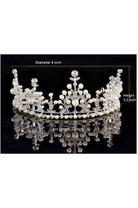 Gorgeous Alloy Rhinestone Wedding Bridal Tiara Crown With Pearls