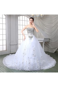 Gorgeous Ball Gown Strapless Corset Back Tulle Lace Crystal Beaded Wedding Dress With Long Train