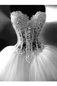 Gorgeous Ball Gown Sweetheart See Through Tulle Pearl Beaded Corset Wedding Dress
