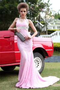 Gorgeous Mermaid Halter Backless Light Pink Sequined Special Occasion Evening Dress