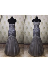 Gorgeous Mermaid Strapless Charcoal Gray Tulle Beaded Prom Dress