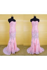 Gorgeous Mermaid Strapless Pink Chiffon Heavy Beaded Rhinestone Prom Dress With Slit
