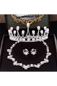 Gorgeous Pearl Rhinestone Wedding Bridal Tiara Crown Necklace Jewely Set