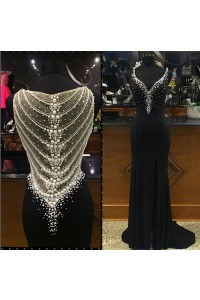 Gorgeous Sweetheart High Slit Long Black Jersey Pearl Beaded Prom Dress