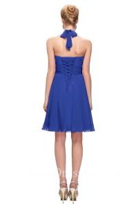 Graceful Halter Corset Short Royal Blue Chiffon Party Bridesmaid Dress With Sash