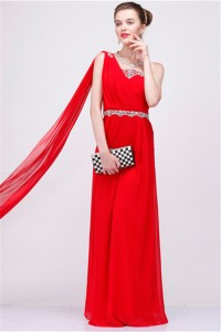Graceful One Shoulder Long Red Chiffon Beaded Special Occasion Prom Dress