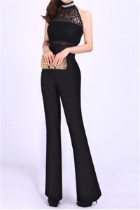 High Neck Black Jersey Lace Beaded Formal Occasion Evening Jumpsuit